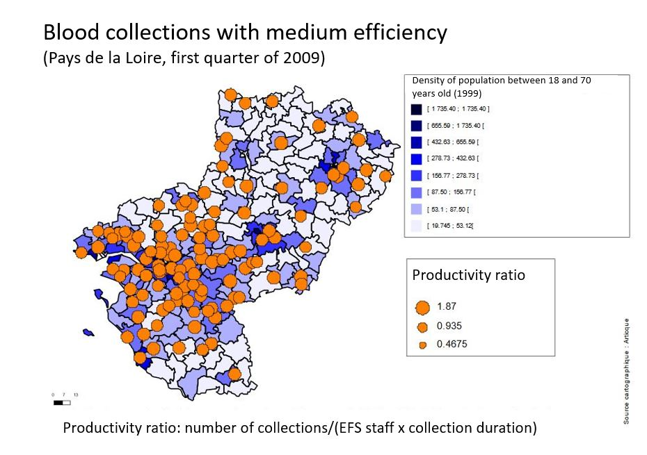 French Blood Establishment collections with medium efficiency