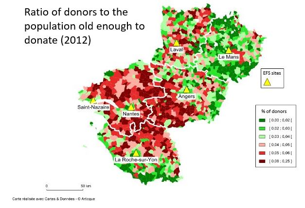 ratio of blood donors to potential donors