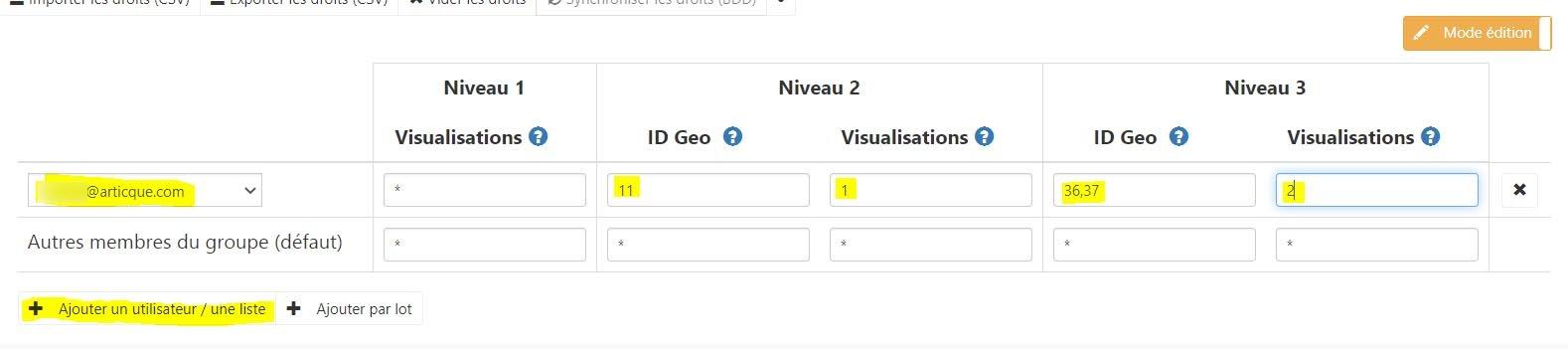 ajout utilisateur droit d'accès géographique