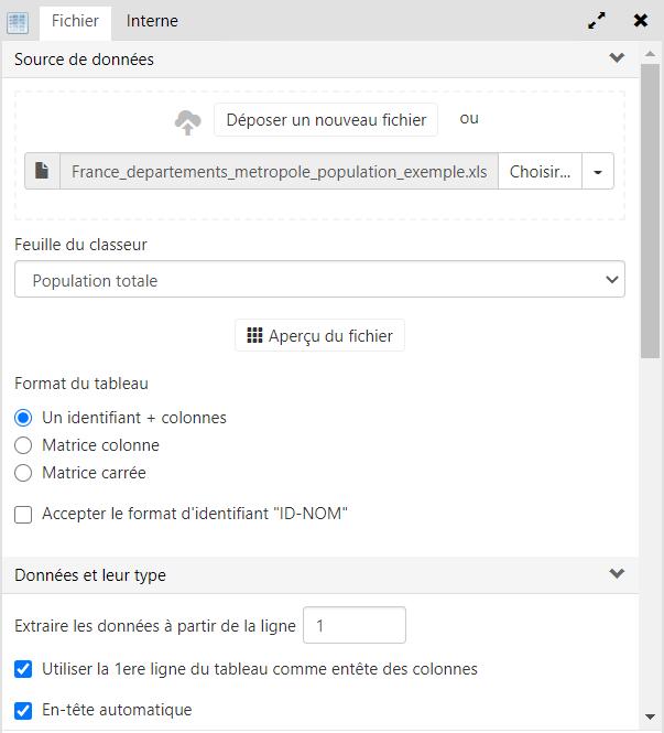 options en fonction du type de fichier